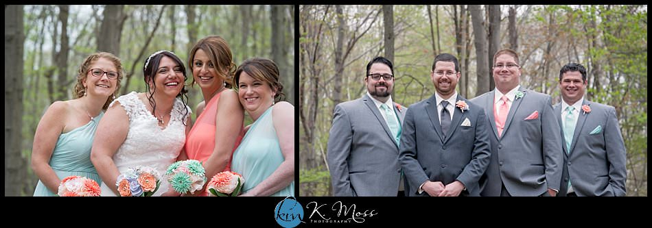 blackhorsevideography-outdoor wedding photos - bridal party outdoors - stroudsburg pa wedding photographer - spring wedding - april wedding - coral wedding colors - aqua wedding colors - bridesmaids photos - groomsmen photos