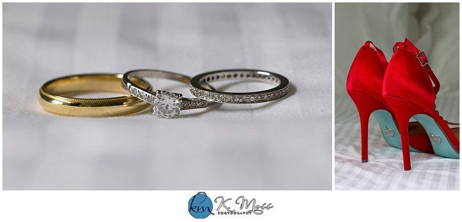red wedding shoes - bride and groom rings - Steelstacks Bethlehem wedding | K. Moss Photography