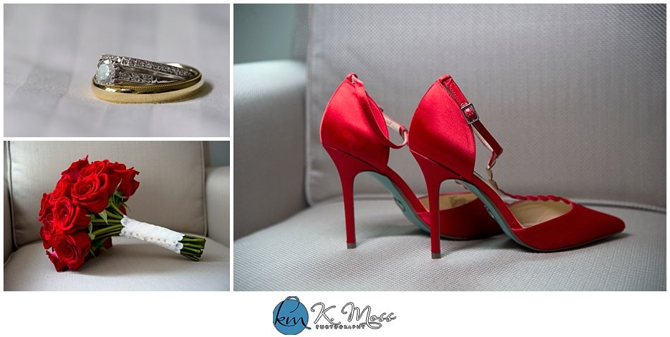 red wedding shoes - bride and groom rings - Berks County Wedding Photographer | K. Moss Photography