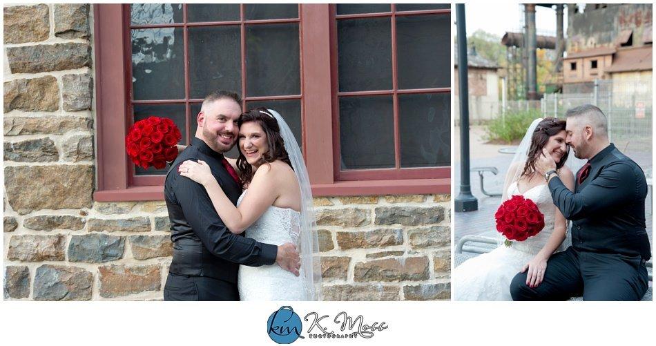 Garden of Eden-bride and groom formal photos - outdoor photos of wedding couple - - Steelstacks Bethlehem wedding | K. Moss Photography