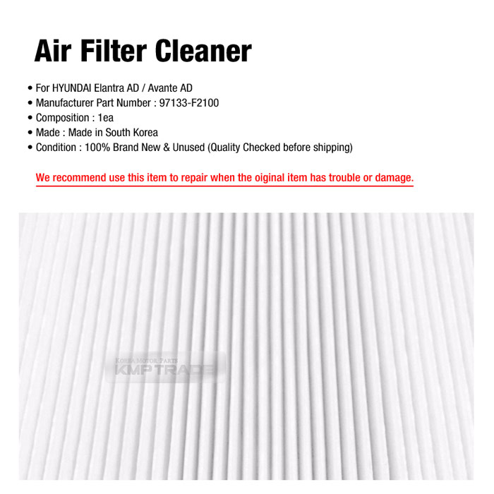 OEM Auto Parts Air Filter Cleaner 97133-F2100 For HYUNDAI