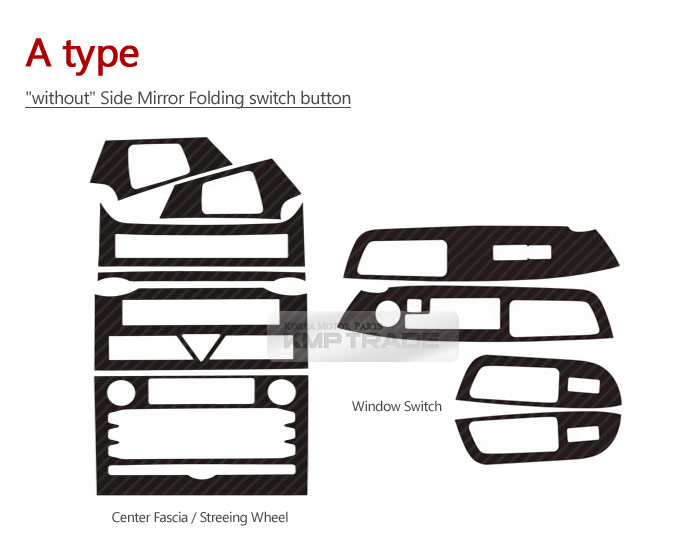 Carbon Decal Interior Trim Carbon Sheet Full Set for KIA