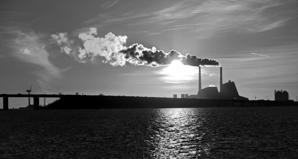 Energy plant in black and white