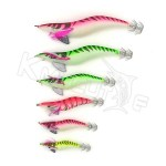 CHS010 luminous squid jigs in various sizes and colors