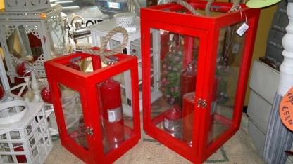 Lanterna Legno Vetro Corda Rossa - KMV Home Store stocKMarket