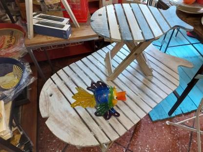 Tavolo Pesce Pieghevole Legno Decapato Bianco Azzurro - KMV Home Store stocKMarket