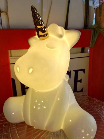 Lampada Tavolo Abat Jour Tour Unicorno Porcellana Bianco – KMV Home Store stocKMarket