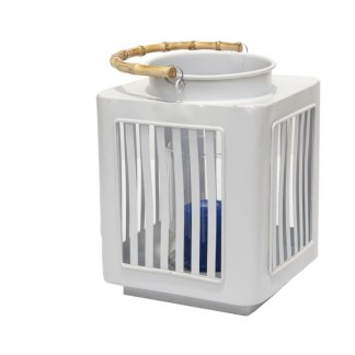 Lanterna Eraclea Metallo Maniglia Rattan Vetro Antivento - KMV Home Store stocKMarket