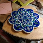 Sottopentola Fiore, Bianco e Blu, Ceramica, Dipinto a Mano, Originale Turchia