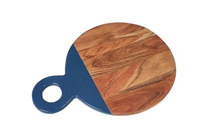 Tagliere Tondo Legno Acacia Laccato Blu - KMV Home Store - stocKMarket