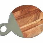 Tagliere Tondo con Maniglia, in Legno di Acacia, Laccato Grigio