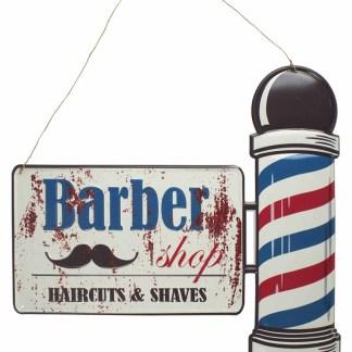 Insegna Targa Cartello Barber Shop Metallo Rilievo - KMV Home Store stocKMarket
