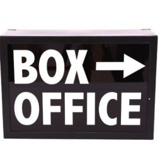 Insegna Targa Cartello Lampada Box Office Luminosa Light Box Metallo Vetro Nero Bianco - KMV Home Store stocKMarket