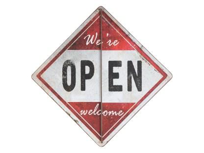 Insegna Targa Cartello Open Closed Metallo Bianco Rosso Rombo Bandiera - KMV Home Store stocKMarket