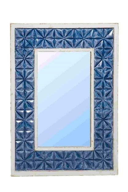 Specchio Rettangolare Metallo Sbalzato Modanato Bianco Blue - Kmv Home Store stockmarket