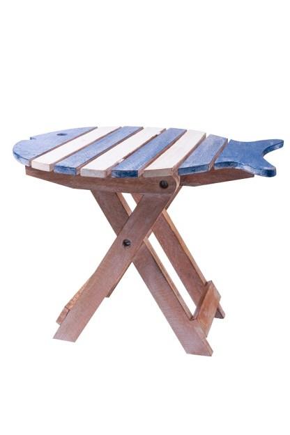 Tavolino Pesce Pieghevole Legno Decapato Bianco Azzurro - KMV Home Store stocKMarke