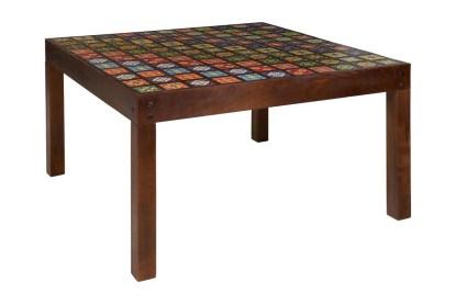 Tavolo Pranzo Intarsiato Maioliche Quadrato Legno Massello Ceramica - KMV Home Store stocKMarket