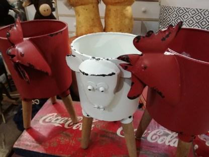 Portavaso Cachepot Contenitore Gallo Pecora Rosso Bianco Metallo Legno Vintage - Kmv Home Store stockmarket