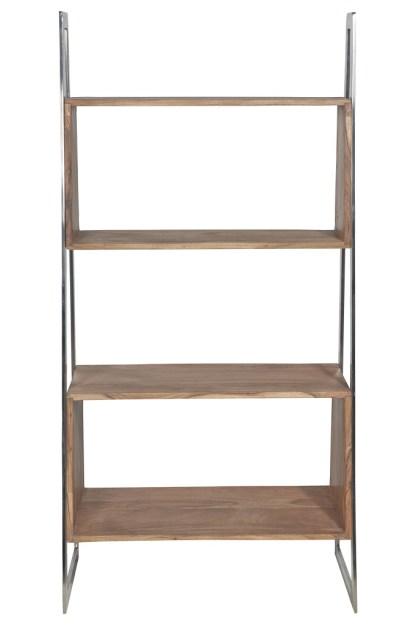 Libreria Obliqua 4 Ripiani Legno Metallo Lucido - KMV Home Store stocKMarket
