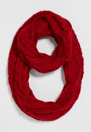 infinity scarf with cable and weaved knit in lipstick red maurices