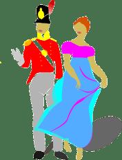 Regency Couple Soldier Lady