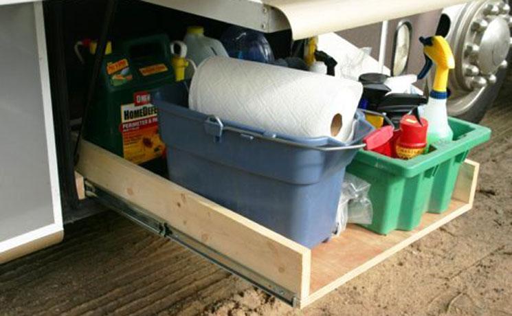 RV cargo storage calls for heavyduty drawer slides  KV