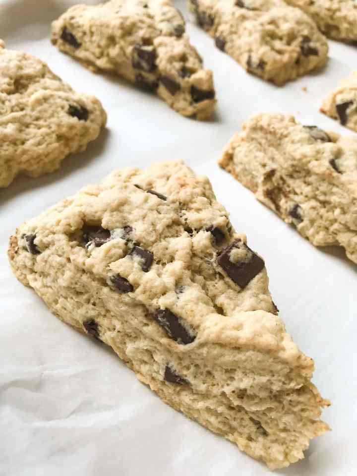 These Brown Butter Chocolate Chunk Scones are everything! Buttery, delicious scones filled with semisweet chocolate chunks!