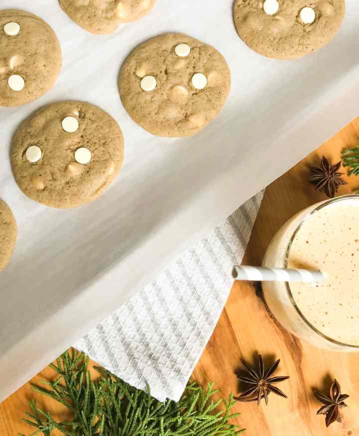 Eggnog White Chocolate Chip Cookies