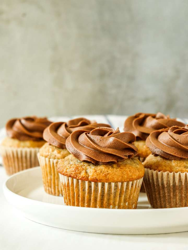 Chocolate Frosted Banana Cupcakes