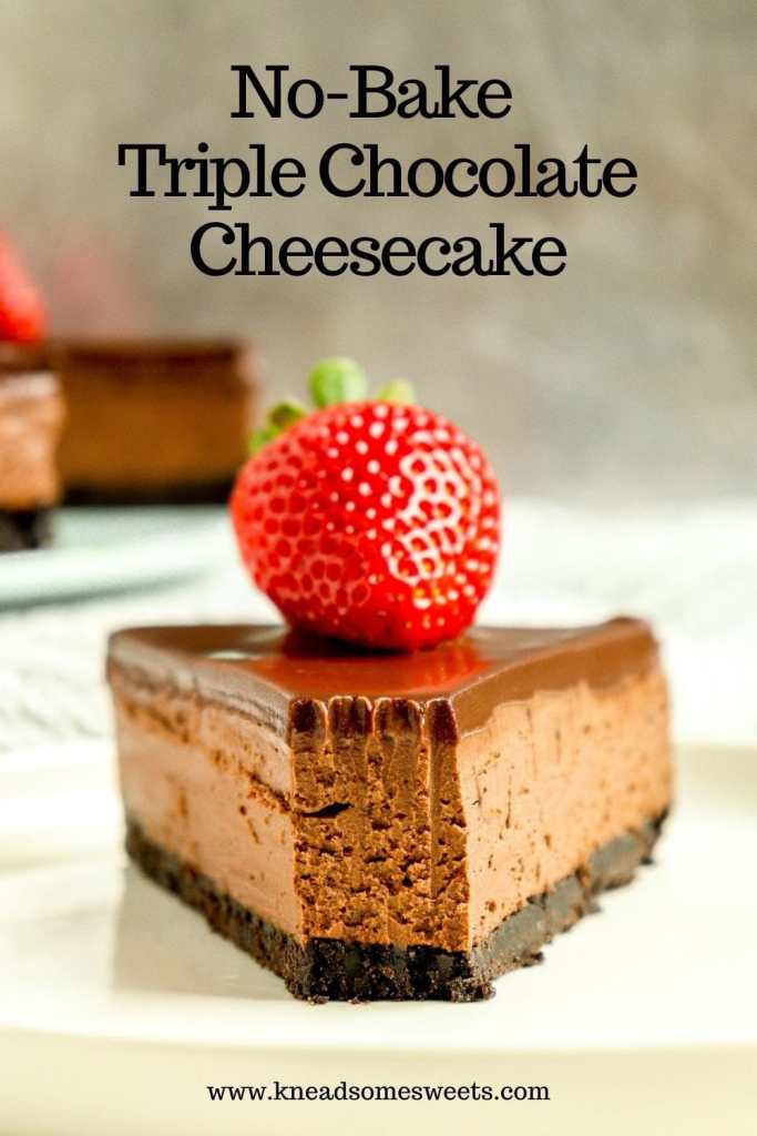 slice of chocolate cheesecake with a strawberry on top