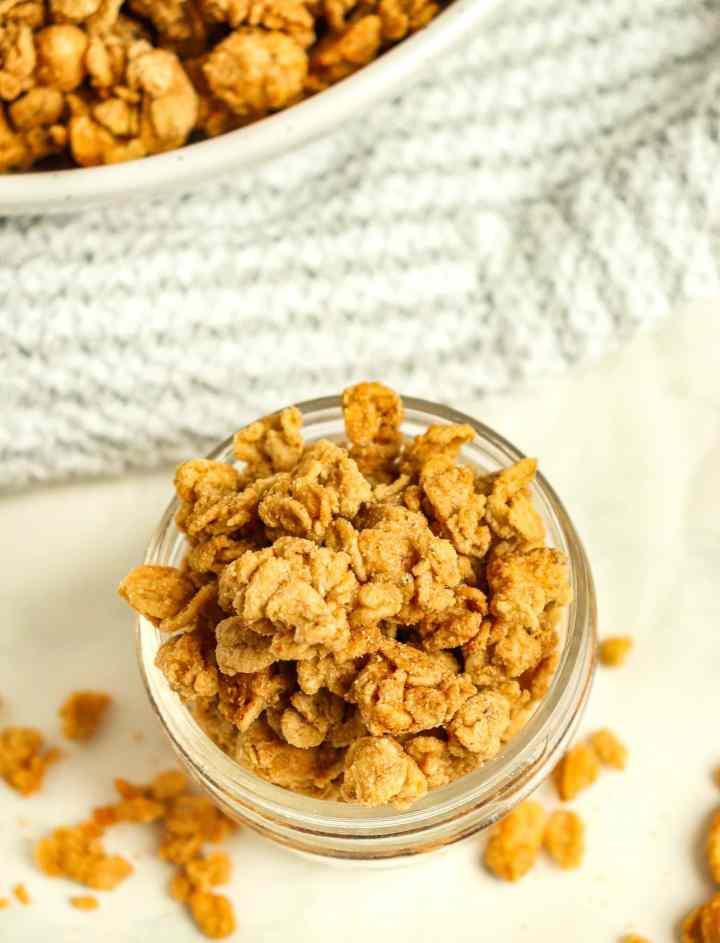 peanut butter granola in a jar