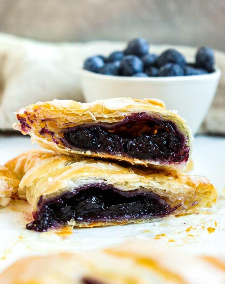blueberry turnover sliced in half