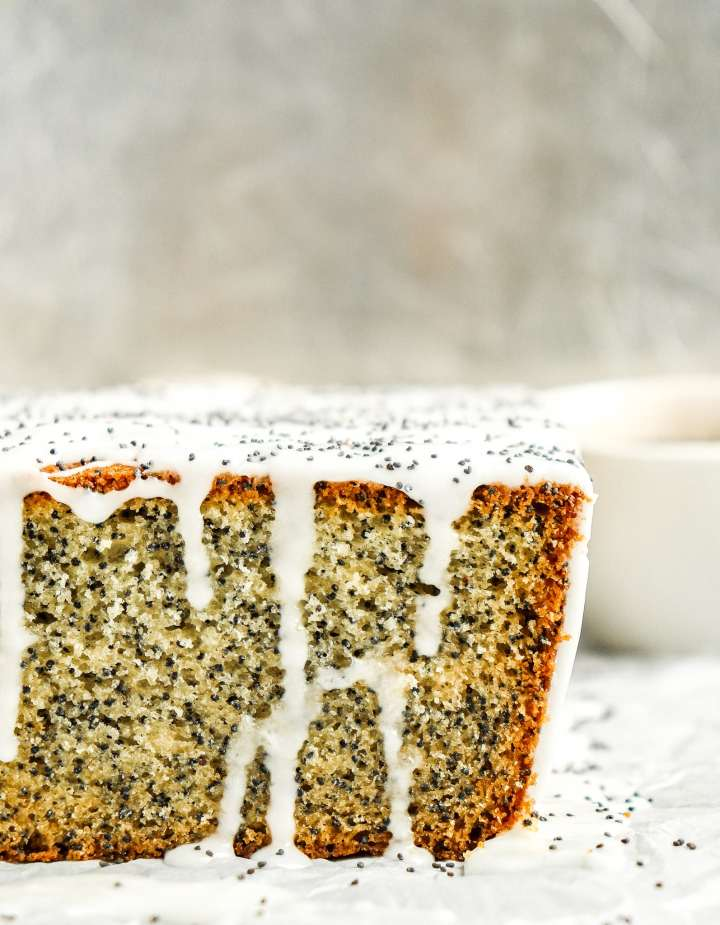 Poppy Seed Pound Cake topped with almond icing