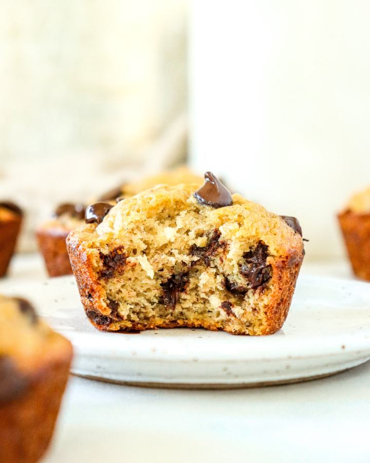 Banana Chocolate Chip Muffin on a plate