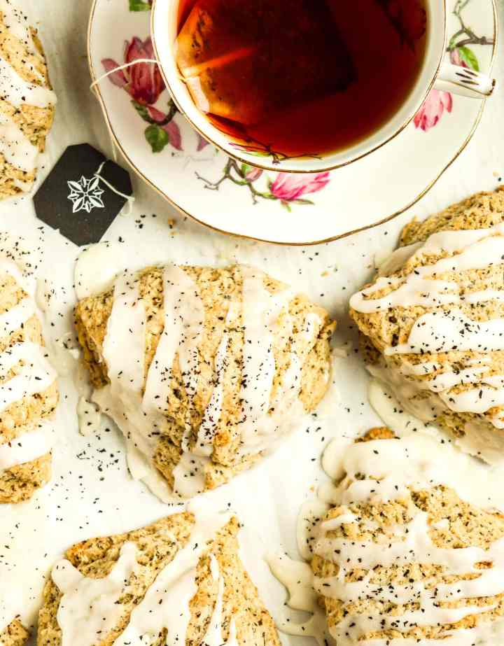 earl grey scones topped with icing