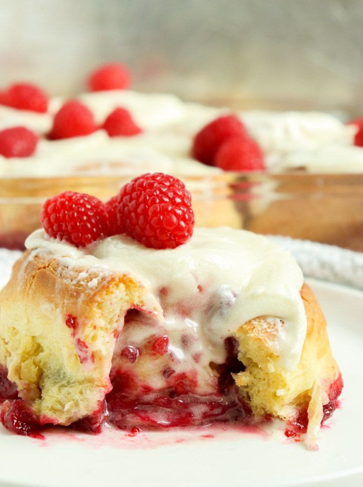 raspberry sweet roll topped with icing
