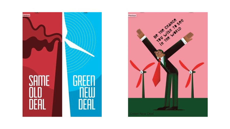 two Green New Deal posters in bright colors showing windmills