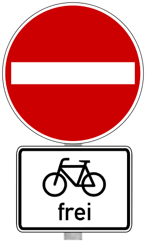 Fahrrad frei - Einbahnstraße