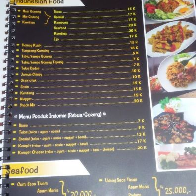 menu indonesian food dan sea food