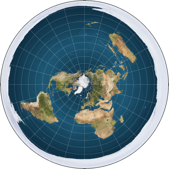 Flat earth map including Antarctica as an ice wall