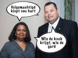 Marvelyne Wiels & Ivar Asjes in hun wittebroodsmaanden Cartoon: Pa Stechi