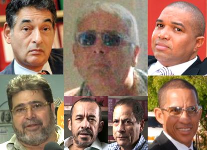 Francesco Corallo en enkele van zijn 'advocaten' die de aanvallen van afgelopen jaar verzorgden