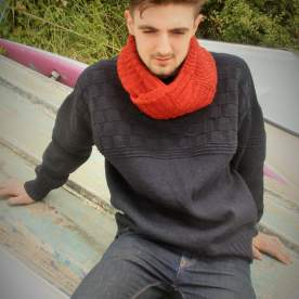 Morwenstow Slate Gansey and Crumplehorn snood