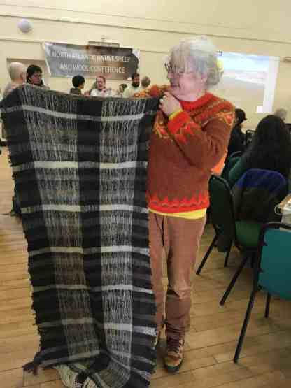 Gillian Thomas and her incredible woven blanket