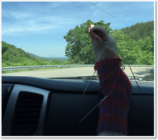 Stripey Sock 2 in car