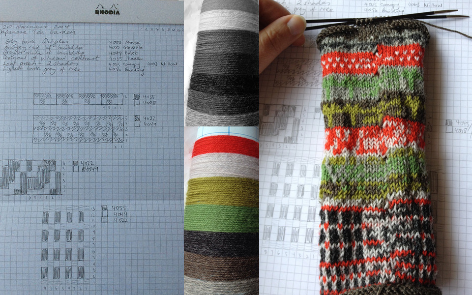 Paisley's charts and designs on squared notepaper, notes on yarn shades - both in terms of value (contrast) and hue; lovely composition of knitting + notebook.