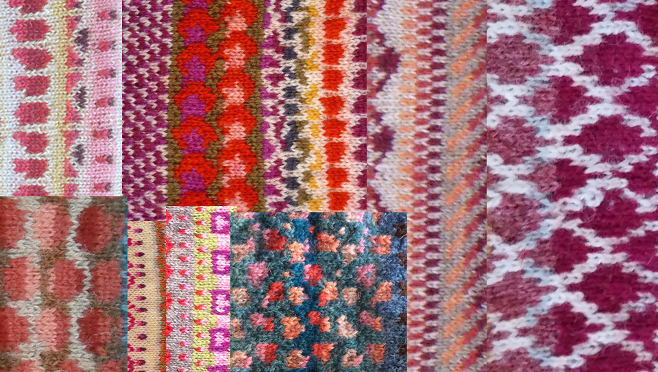 lots of amazing pomegranate seeds in stranded colourwork