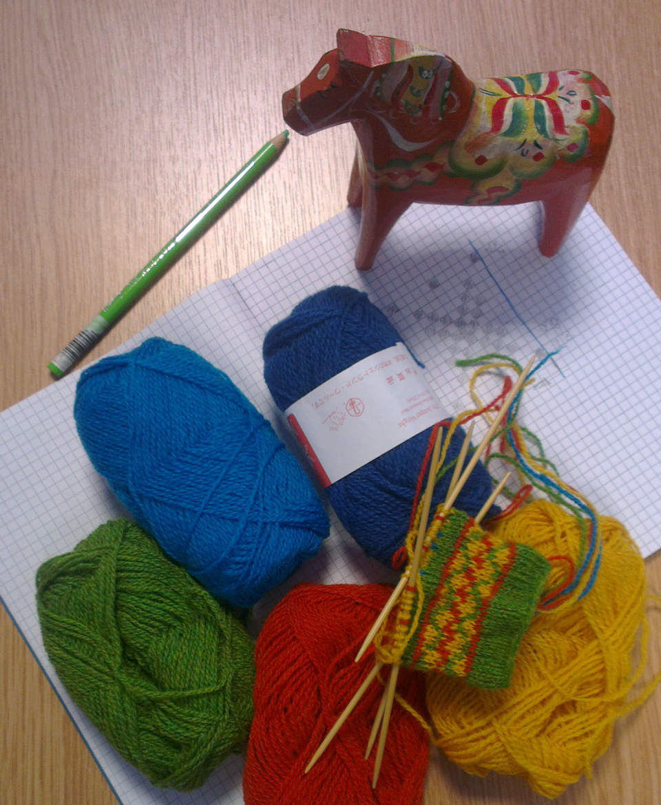 Wooden Swedish Horse translated into stranded colourwork