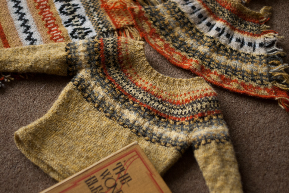 Inspiration source (book), KNITSONIK System Swatch (top left), Petal Swatch (right), Mini-Me Yoke sweater sample, (centre)