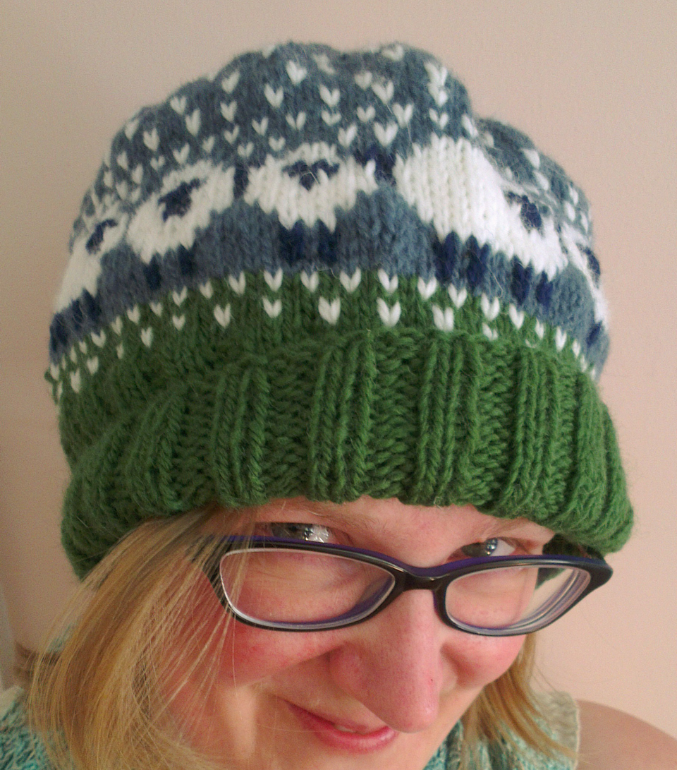 The amazing Baa-ble hat by Donna Smith, designed for this year's Shetland Wool Week